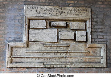 Old sign on the wall of ancient building on Cavour square in...