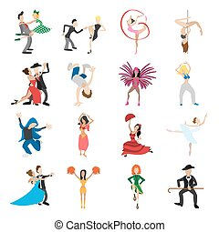 Dances cartoon icons set
