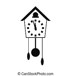 Cuckoo clock simple icon isolated on white background
