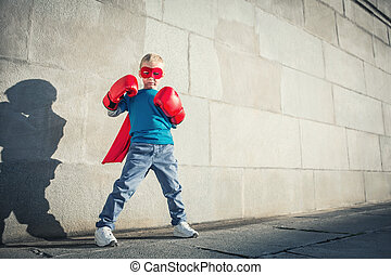 Fantasy - Little boy with boxing gloves
