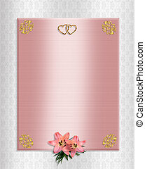 Wedding invitation pink satin lilies