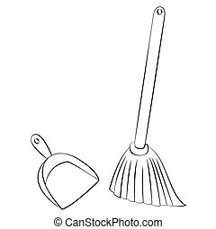 Broom & Dustpan - Black outline vector Broom & Dustpan on...