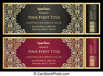 1 - Exclusive golden and silver theater ticket with vintage...