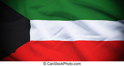 Kuwait Flag - Wavy and rippled national flag of Kuwait...