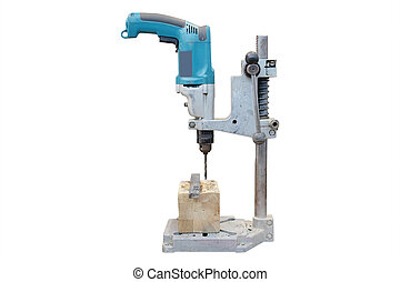 wood-working boring machine under the white background