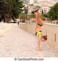 training girl athlete - The image of training girl athlete....