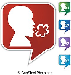 Illness Speech Balloon Icon Set - Illness speech balloon...