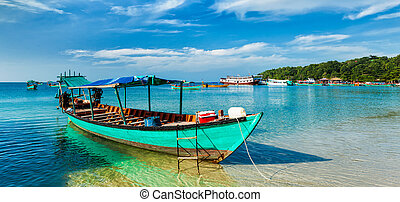 Boats in Sihanoukville - Panorama of boat in Sihanoukville,...