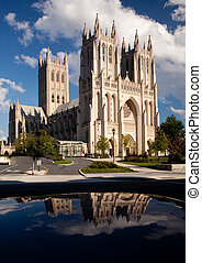 Reflection of Washington Cathedral - Interesting perspective...