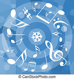 Musical notes on winter background