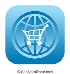 Global shopping - Shopping cart and globe icon
