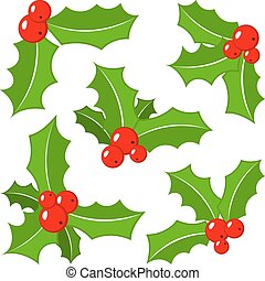 set of christmas holly leaves - vector illustration of a set...