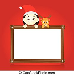 Santa claus and reindeer holding wo