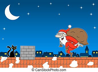 santa claus goes on tiptoe - vector illustration of a santa...