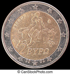 National side of Greece two euro coin on black background -...