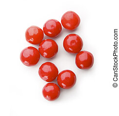 Red balls on white