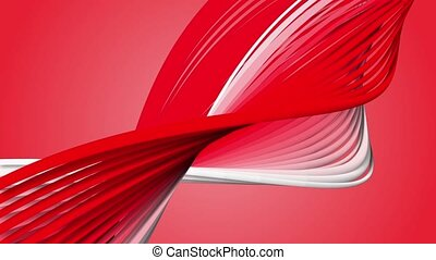 Abstract rotating spirals in red and white colors