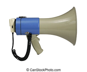 Megaphone on white with path