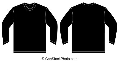 Black Long Sleeve T-Shirt Design Template