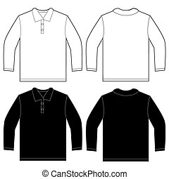 Black White Long Sleeve Polo Shirt Design Template