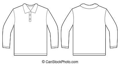 White Long Sleeve Polo Shirt Design Template - Vector...