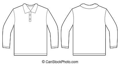 White Long Sleeve Polo Shirt Design Template - Vector...