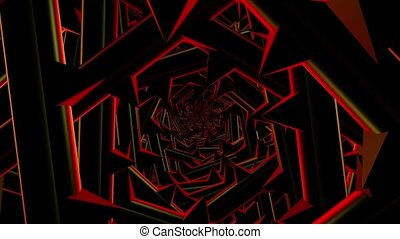 Rotating tunnel with spikes in red and black colors