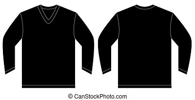 Black Long Sleeve V-Neck Shirt Design Template