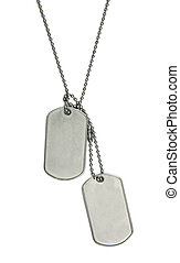 Army tags isolated - blank army dogtags isolated on white...