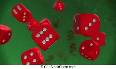 Flying dices in red on green