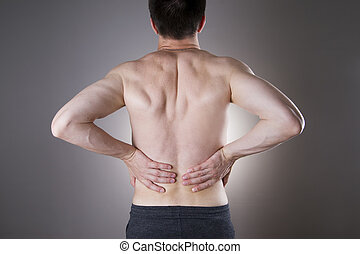 Kidney, pain., Man, with, backache., Pain, in, the, man's,...