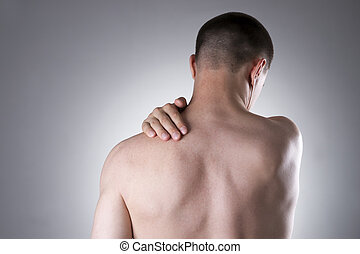 Man with pain in shoulder Pain in the human body