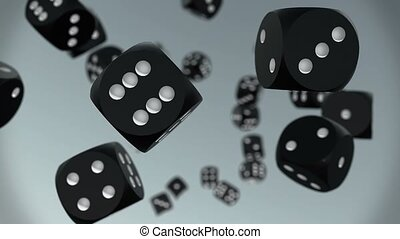 Flying dices in black on grey