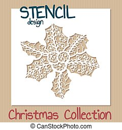 Stencil design template. Christmas collection.