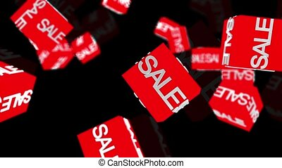 Flying cubes with sale message in red
