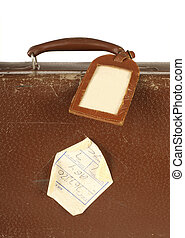 Retro suitcase with travel tag - Old and worn retro suitcase...