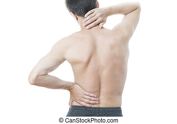 Back pain in men Touching the neck