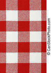 Table cloth - Close-up of classic red picnic cloth - The...