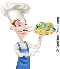 Pointing Chef Holding Fish and Chips - A cartoon pointing...