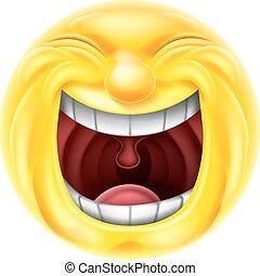 Laughing Emoji Emoticon - A very happy cartoon emotion emoji...