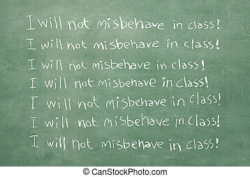I will not misbehave in class! - large XXL image of an old...