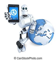 Robot with tablet phone. Global communication concept. Isolated. Contains clipping path