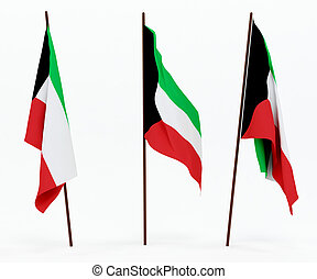 Flag of Kuwait - The state flag of Kuwait On white...