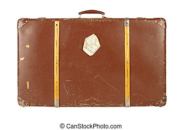Retro suitcase isolated on white - Old and worn retro...