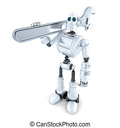 Robot with adjustable wrench. Isolated. Contains clipping path