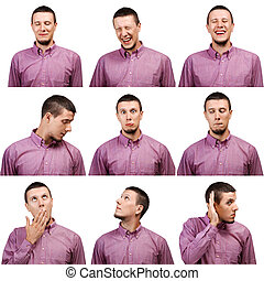 Male face expressions - Collection of young man face...
