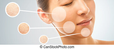 Dry skin of woman - Skin of beautiful young woman before and...