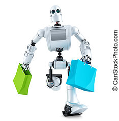 Robot running with shopping bag. Isolated. Contains clipping path