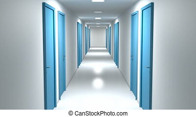 Walking through the corridor with closed doors