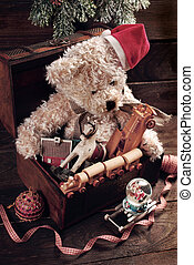 vintage christmas toys for boys in old treasure chest -...